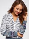 Блузка прямого силуэта с V-образным вырезом oodji #SECTION_NAME# (разноцветный), 21400394-3/24681/1279E - вид 4