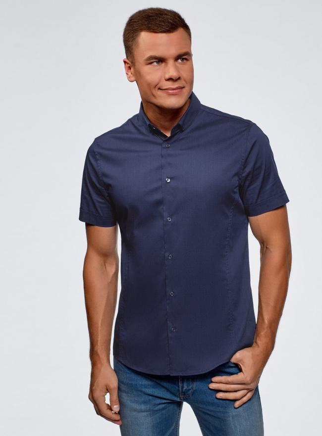 Рубашка базовая с коротким рукавом oodji #SECTION_NAME# (синий), 3B240000M/34146N/7800N