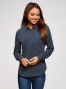 Рубашка хлопковая с нагрудным карманом  oodji для женщины (синий), 13K03013-1/36217/7910D