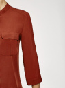 Блузка вискозная с нагрудными карманами oodji #SECTION_NAME# (коричневый), 11403225-7B/42540/4901N - вид 5
