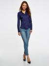 Рубашка приталенная с V-образным вырезом oodji #SECTION_NAME# (синий), 11402092B/42083/7900N - вид 5