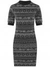 Платье трикотажное с воротником-стойкой oodji #SECTION_NAME# (черный), 14001229/47420/2930E