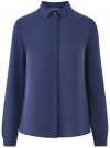 Блузка базовая из струящейся ткани oodji #SECTION_NAME# (синий), 11400368-8B/48854/7902N