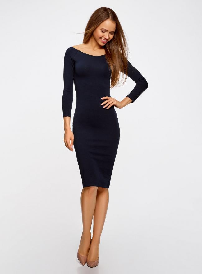 Платье облегающее с вырезом-лодочкой oodji #SECTION_NAME# (синий), 14017001-6B/47420/7900N