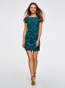 Платье трикотажное с принтом из флока oodji для женщины (бирюзовый), 14001117-9/33038/7529O