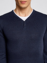 Пуловер с хлопковой вставкой на груди oodji #SECTION_NAME# (синий), 4B212006M/39245N/7910B - вид 4