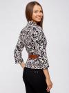 Жакет льняной с широким ремнем oodji #SECTION_NAME# (черный), 21202076-2/45503/2912F - вид 3