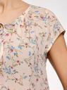 Блузка свободного силуэта с бантом oodji #SECTION_NAME# (розовый), 11411154-1B/24681/5475F - вид 5