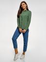 Блузка базовая из вискозы с нагрудными карманами oodji для женщины (зеленый), 11411127B/42540/6200N