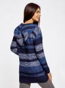 Кардиган полосатый с капюшоном oodji #SECTION_NAME# (синий), 63205244/46133/7579S - вид 3
