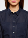 Рубашка хлопковая свободного силуэта oodji #SECTION_NAME# (синий), 11411101B/45561/7900N - вид 4