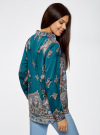 Блузка из струящейся ткани с принтом oodji #SECTION_NAME# (бирюзовый), 21411144-3/35542/7475E - вид 3