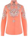 Блузка хлопковая с этническим принтом oodji #SECTION_NAME# (розовый), 21402212-2/45966/4365E