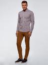 Рубашка extra slim в мелкую клетку oodji для мужчины (коричневый), 3B140003M/39767N/1083C