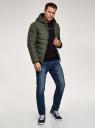 Куртка стеганая с капюшоном oodji #SECTION_NAME# (зеленый), 1B112027M/33743/6600N - вид 6