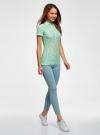 Поло из фактурной ткани с вышивкой oodji для женщины (зеленый), 19301006/46656/6500O - вид 6