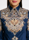 Блузка хлопковая с этническим принтом oodji #SECTION_NAME# (синий), 21402212-2/45966/7533E - вид 4