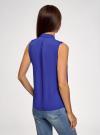 Топ из струящейся ткани с жабо oodji для женщины (синий), 24911001-1B/48854/7501N - вид 3