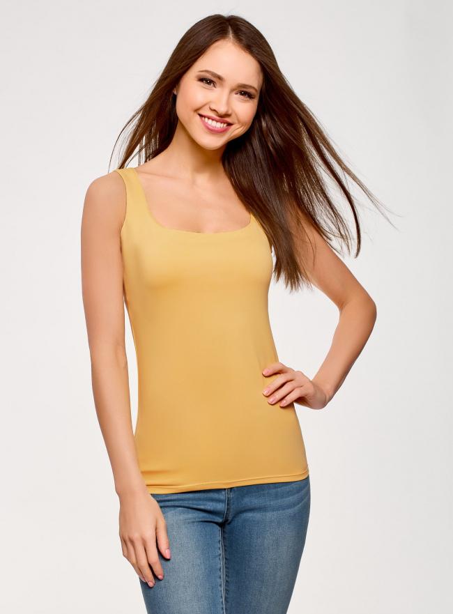 Топ из эластичной ткани на широких бретелях oodji для женщины (желтый), 24315002-1B/45297/5200N