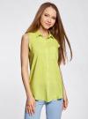 Топ вискозный с нагрудным карманом oodji для женщины (зеленый), 11411108B/26346/6A00N - вид 2