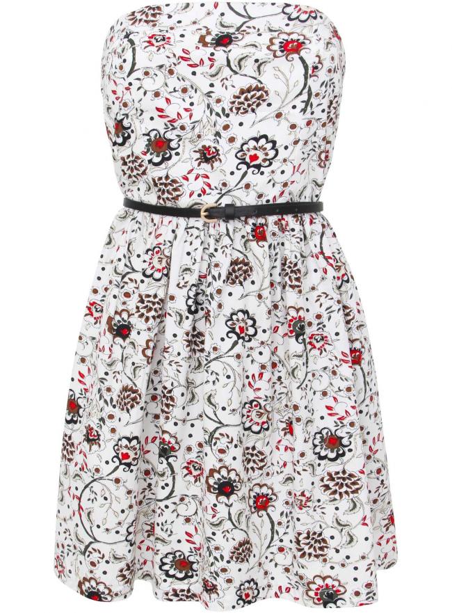 Платье принтованное из хлопка oodji для женщины (белый), 11902101-4/14912/1245E
