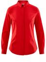 Рубашка базовая приталенного силуэта oodji для женщины (красный), 13K03003B/42083/4500N