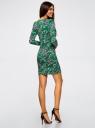 Платье трикотажное облегающего силуэта oodji #SECTION_NAME# (зеленый), 14000171/46148/6223O - вид 3