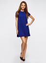 Платье А-образного силуэта в рубчик oodji #SECTION_NAME# (синий), 14000157/45997/7500N - вид 2