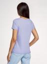 Футболка хлопковая с принтом oodji для женщины (фиолетовый), 14701080-32/44135N/8088P