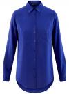 Блузка базовая из вискозы с карманами oodji #SECTION_NAME# (синий), 11400355-4/26346/7500N