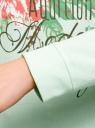 Свитшот хлопковый с принтом oodji #SECTION_NAME# (зеленый), 14808015-26/46151/6519P - вид 5