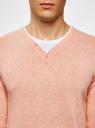 Пуловер с хлопковой вставкой на груди oodji #SECTION_NAME# (розовый), 4B212006M/39245N/5410B - вид 4