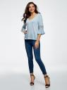 Блузка трикотажная с кружевными вставками на рукавах oodji #SECTION_NAME# (синий), 11308096/43222/7000N - вид 6