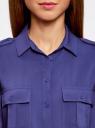 Блузка базовая из вискозы с нагрудными карманами oodji #SECTION_NAME# (синий), 11411127B/26346/7500N - вид 4