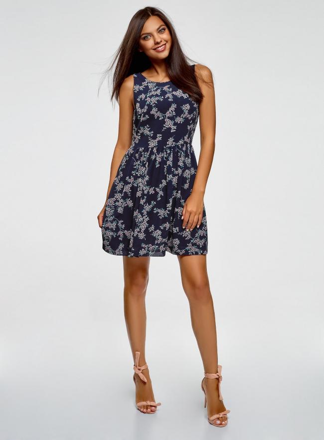 Платье из струящейся ткани с бантом на спине oodji #SECTION_NAME# (синий), 11900181-2B/35271/7940F