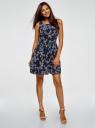 Платье из струящейся ткани с бантом на спине oodji #SECTION_NAME# (синий), 11900181-2B/35271/7940F - вид 2