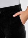 Брюки бархатные на завязках oodji для женщины (черный), 16701056B/47883/2900N