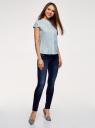 Рубашка с воротником-стойкой и коротким рукавом реглан oodji для женщины (синий), 13K03006B/26357/7029Q