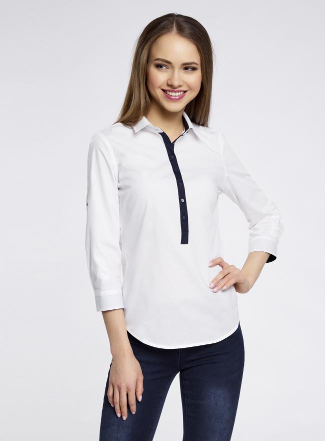 Рубашка базовая прилегающего силуэта oodji для женщины (белый), 11406016/42468/1000N