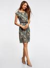 Платье трикотажное с ремнем oodji #SECTION_NAME# (зеленый), 24008033-2/16300/6243F - вид 6