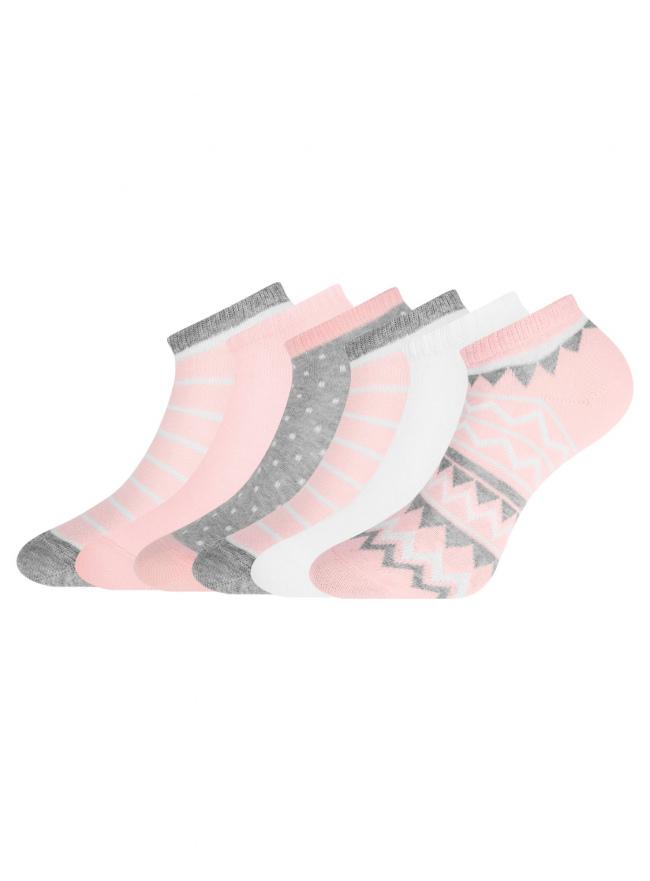 Комплект укороченных носков (6 пар) oodji для женщины (разноцветный), 57102433T6/47469/49