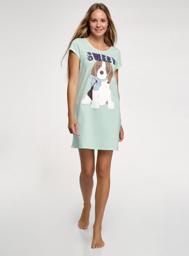 Платье домашнее с принтом oodji для женщины (зеленый), 59801006-22/46154/6519P