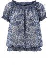Блузка принтованная из шифона oodji #SECTION_NAME# (синий), 11400344-3/17358/7970F
