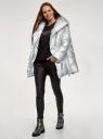 Куртка удлиненная с капюшоном oodji для женщины (серебряный), 10208004-2/50457/9119N