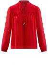 Блузка из шифона свободного силуэта с завязками oodji #SECTION_NAME# (красный), 21400402/17358/4500N