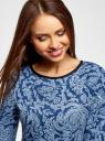 Платье трикотажное со складками на юбке oodji для женщины (синий), 14001148-1/33735/7970E