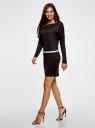 Платье трикотажное с ремнем oodji для женщины (черный), 14008010/15640/2900N