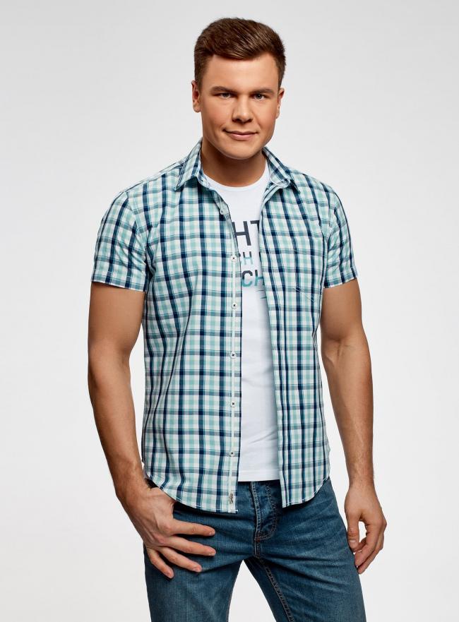 Рубашка приталенная в клетку oodji #SECTION_NAME# (бирюзовый), 3L410081M/34319N/1073C