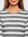 Блузка полосатая с рукавом 3/4 и декоративными молниями oodji для женщины (серый), 24200002/45717/2310S