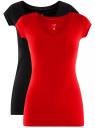 Комплект из двух базовых футболок oodji для женщины (разноцветный), 14711002T2/46157/2